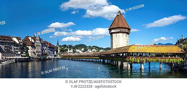 Historical Chapel Bridge, a landmark at the city of Lucerne at the Lake Lucerne in Central Switzerland