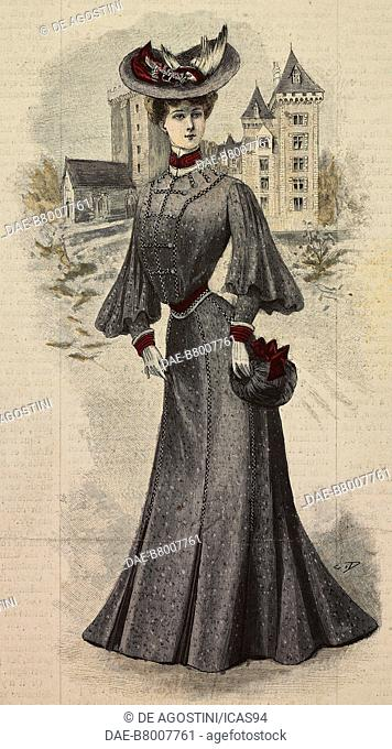 Woman wearing a woolen patterned dress, corset with puffed sleeves and a felt hat with bird, creation by Mademoiselle Louise Pirets