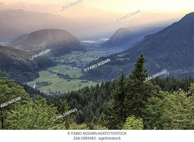 Aerial view of Bohinj lake at sunset in Julian Alps. Popular touristic destination in Slovenia not far from Lake Bled