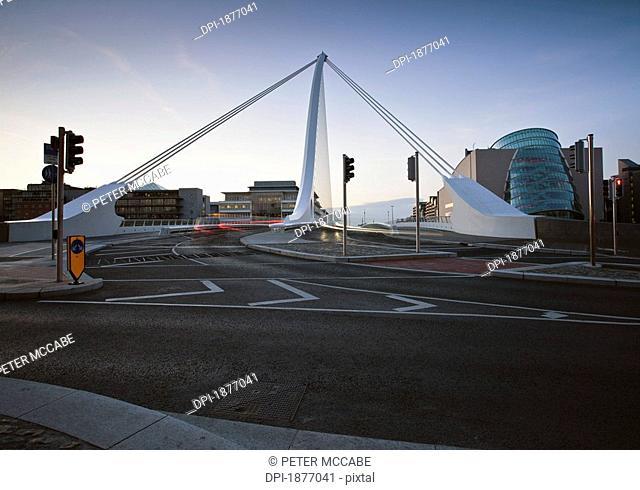 dublin, ireland, samuel beckett bridge at sunset