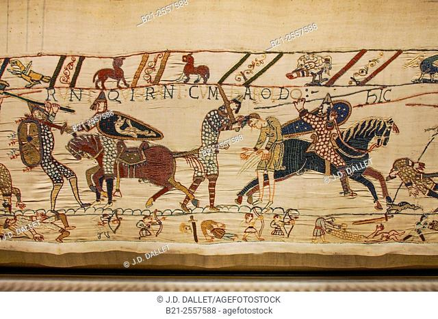 Detail of the Bayeux Tapestry, Bayeux, Calvados, Normandy, France