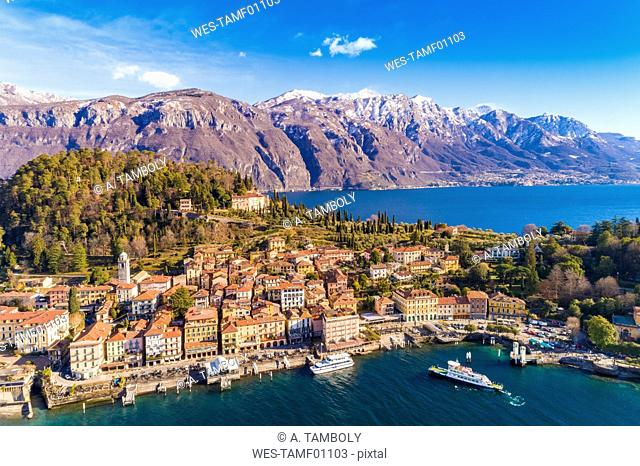 Italy, Lombardy, Aerial view of Bellagio and Lake Como