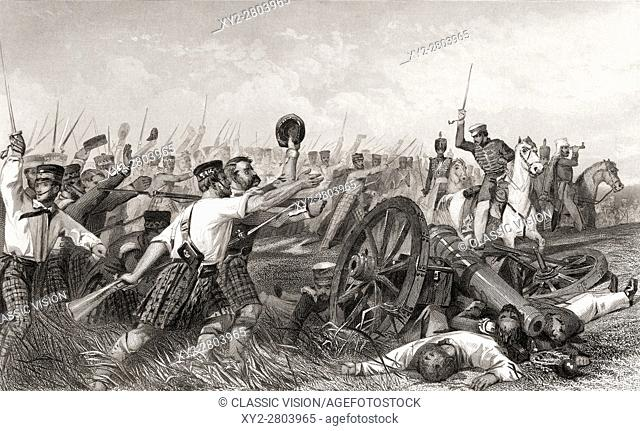 Charge of the Highlanders before Cawnpore under General Havelock, Major General Henry Havelock, 1795 to 1857. Britsh General