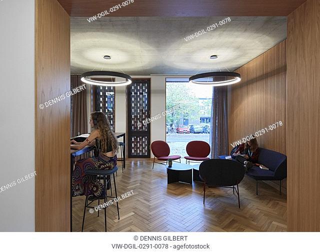 Student cafe to Sidgwick Avenue. Newnham College, Cambridge, Cambridge, United Kingdom. Architect: Walters and Cohen Ltd, 2018