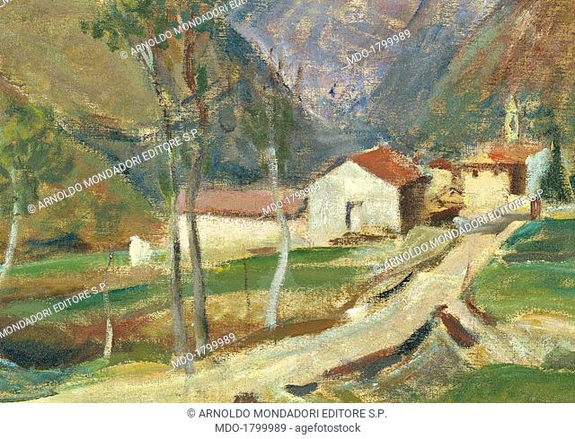Landscape near Bergamo, by Contardo Barbieri, 20th Century, oil on canvas. Italy, Lombardy, Milan, Brera Collection. Detail