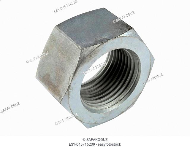 Steel bolt isolated on white background
