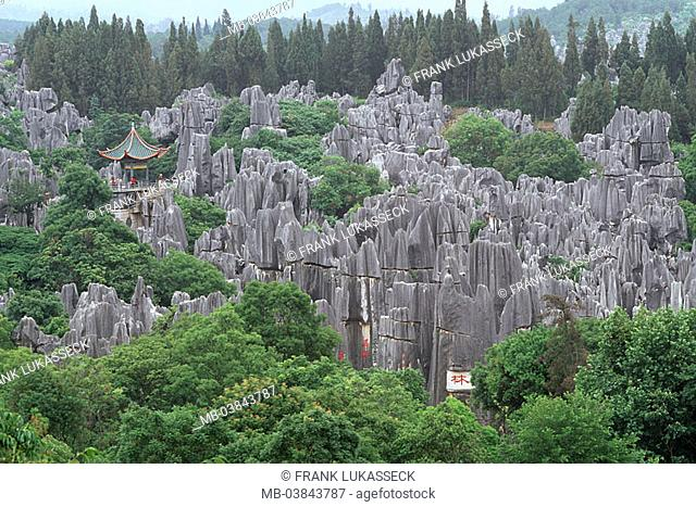 China, province Yunnan, Lunan, stone-forest 'Shi lin' pagoda Asia Eastern Asia close to Kunming, Shilin, forest, temples, rocks, rock-formations, rock, geology