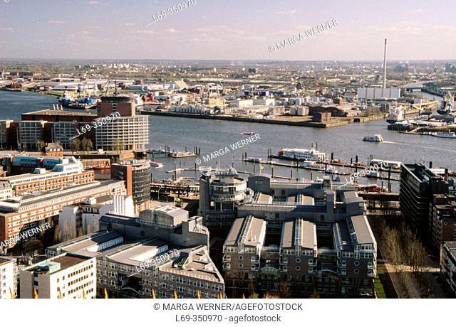 View on Hamburg: harbour-sight with 'Kehrwiederspitze', office-building of publishing-company 'Gruner & Jahr', Hamburg, Germany