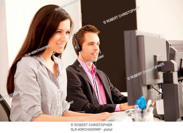 Business people at work in office