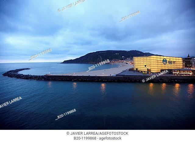 La Zurriola beach, Urumea river and Kursaal Palace, San Sebastian, Guipuzcoa, Basque Country, Spain