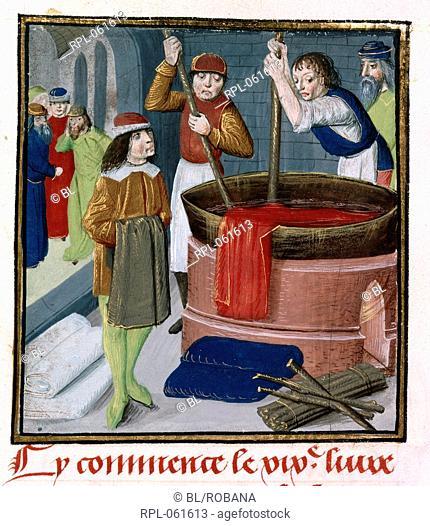 Dyers soaking cloth in a barrel Miniature Dyers soaking red cloth in a heated barrel. Image taken from Des Proprietez des Choses Volume II