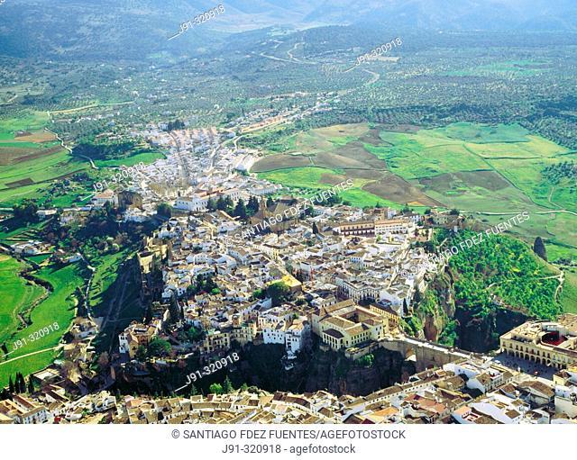Aerial view of Ronda. Malaga province. Andalusia. Spain