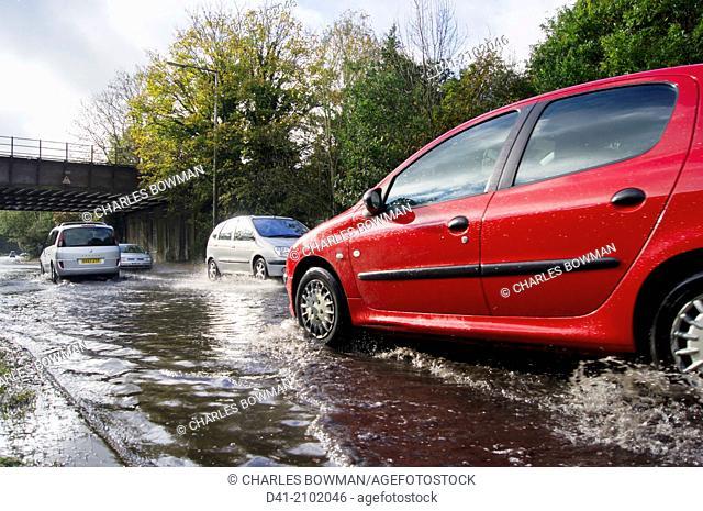 UK flood water on road