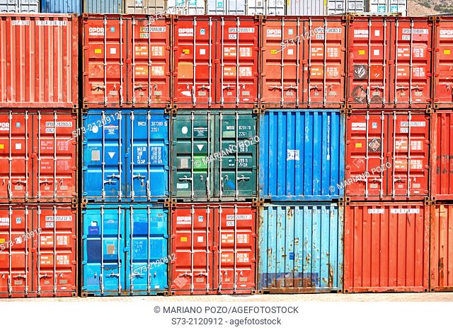 Containers at port of Cartagena. Murcia region, Spain