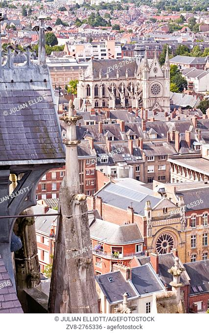 Looking out over the rooftops of Amiens from the cathedral