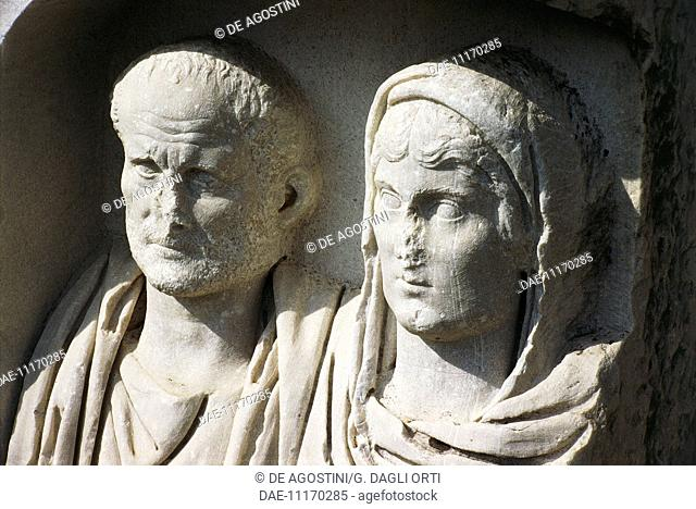 Funeral stele depicting a husband and wife, from Vergina, Veria, Greece. Greek civilisation