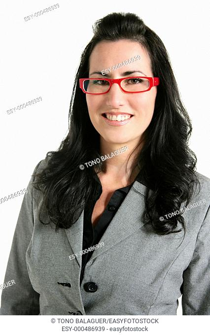 Businesswoman red glasses portrait gray suit white background