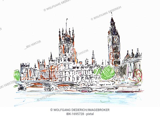Houses of Parliament, Big Ben, London, England, Great Britain, drawing by Gerhard Kraus, Kriftel