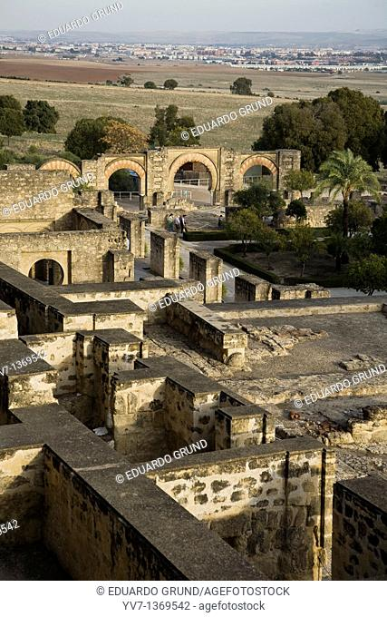 Perspective of the archaeological site of Madinat al-Zahra, where you can see their location with respect to the city of Córdoba  Andalusia, Spain