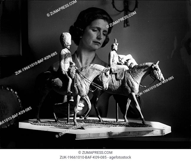 Oct. 10, 1966 - Statuette of the Queen and Duke. For the past few weeks, Sculptress Jean Walwyn has been in the Royal Mews taking a close look at the chestnut...
