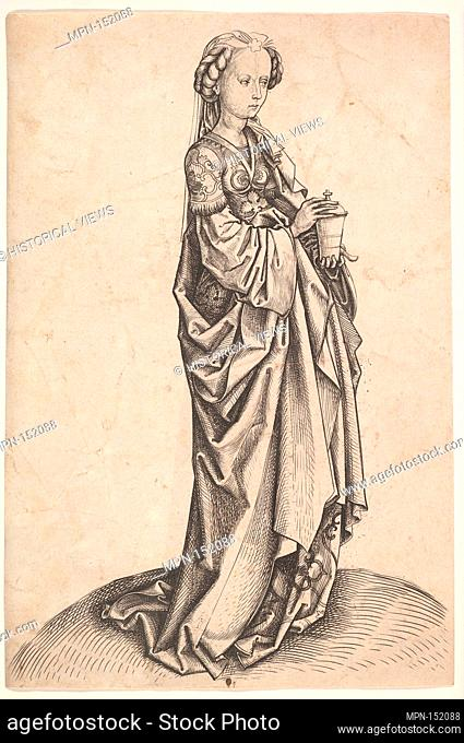 Mary Magdalen. Artist: Master i.e. (German, active 1480-1500); Date: ca. 1490; Medium: Engraving; Dimensions: 8 1/2 x 5 11/16 in. (21.6 x 14