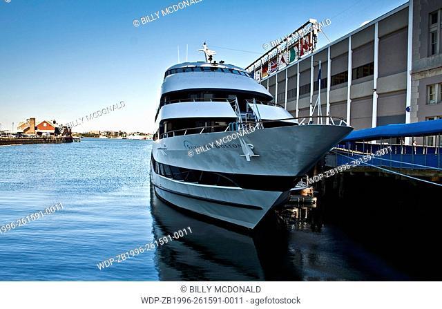 The Spirit of Boston Harbor Cruise Ship Near The Convention Center At The South Boston Waterfront ,Boston, Massachusetts, USA