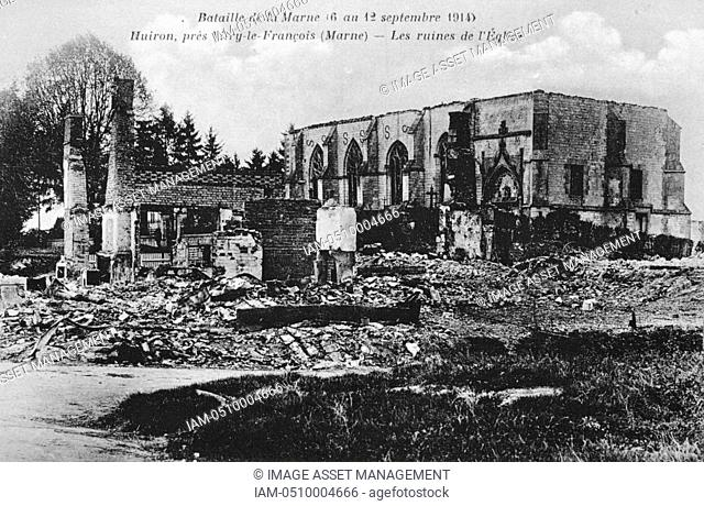 World War I 1914-1918: Aftermath of the First Battle of the Marne, near Paris, France, 5-12 September 1914 - Ruins of the church at Huiron