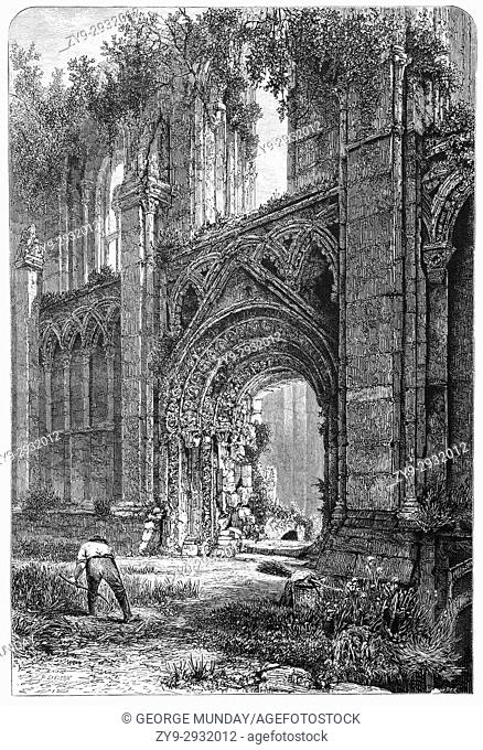 1870: Glastonbury Abbey was a monastery in Glastonbury, Somerset, England. It was founded in the 7th century and enlarged in the 10th