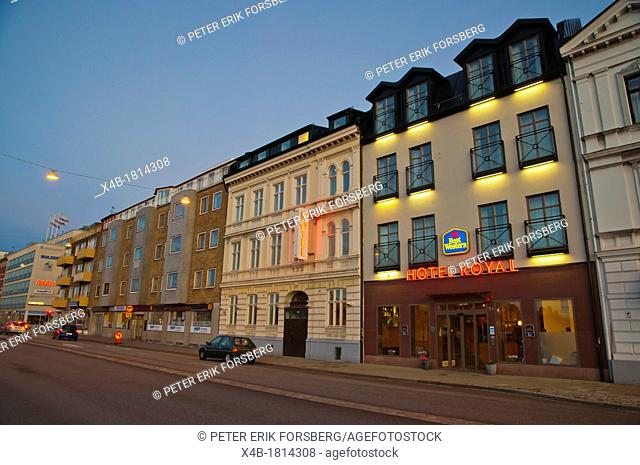 Hotel Royal and other buildings along Norra Vallgatan street central Malmö city Skåne county Sweden Europe
