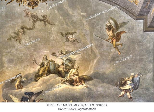 Fragment , Ceiling Painting, Great Hall, Catherine's Palace, Tsarskoye Selo, Pushkin, UNESCO World Heritage Site, Russia