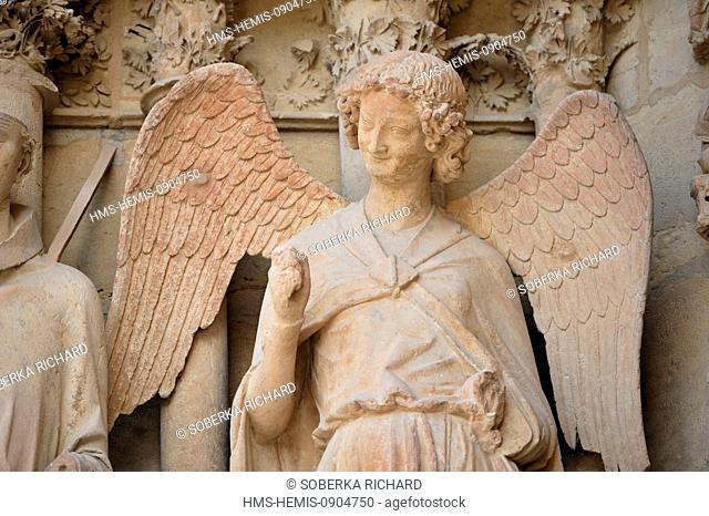 France, Marne, Reims, Notre Dame Cathedral listed as World Heritage by UNESCO, the angel smile carved between 1236 and 1245 located at the northern left...