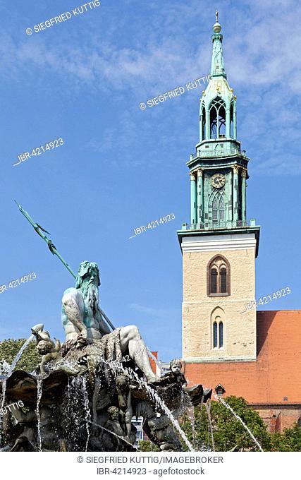 Neptune Fountain and St. Mary's Church, Alexanderplatz, Berlin, Germany