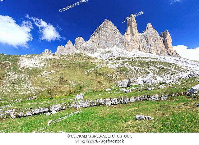 Views of the Three Peaks of Lavaredo on a summer day. Sesto Dolomites Trentino Alto Adige Italy Europe