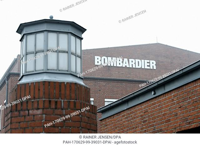 'Bombardier' is written on a wall at the facilities of Bombardier Transportation in Hennigsdorf, Germany, 29 June 2017. The company's supervisory board aims to...