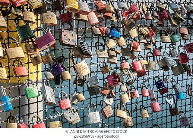 Close-up of Locked paddlocks -symbol of everlasting love,Konstanz,GERMANY