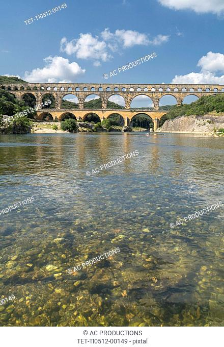Pont du Gard over Gardon River in Vers-Pont-du-Gard, France