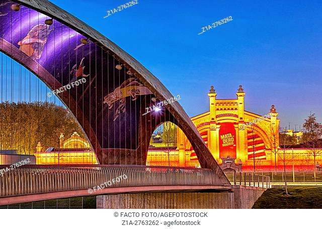 Matadero bridge with urban motifs mosaics by Daniel Canogar. Madrid Rio. Madrid, Spain