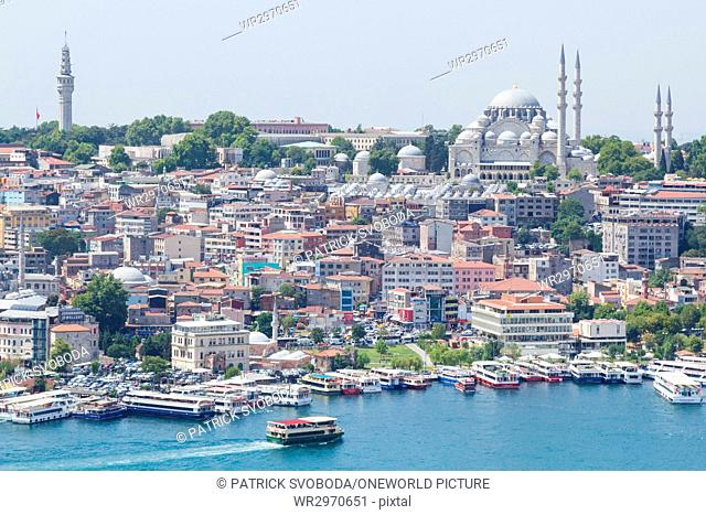 Turkey, Istanbul, Fatih, view from Galata Kulesi Tower on Istanbul Old Town