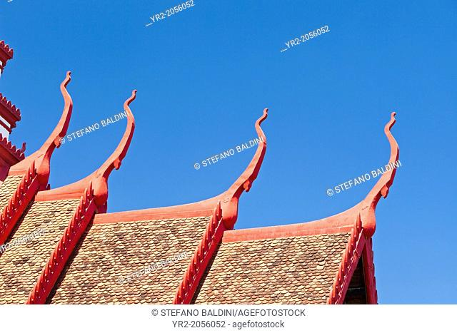 Detail of the multi tiered roof of the national museum building in Phnom Penh, Cambodia