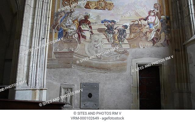 Interior, TILT up, MS. The Chapel was decorated in the first half of the 18th century and restored and newly polychromed in the late 19th century