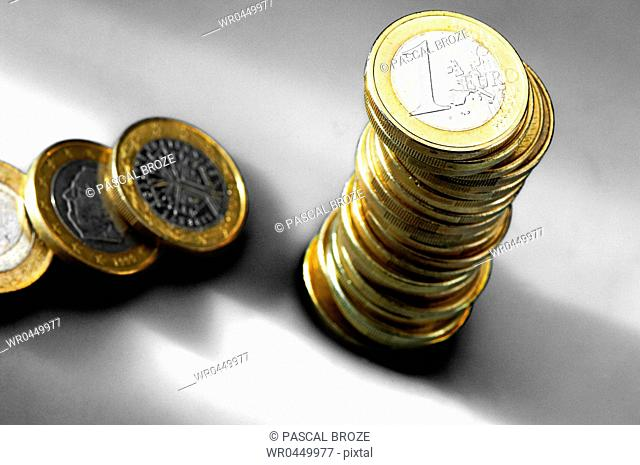 High angle view of a stack of one Euro coins