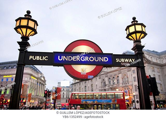 Public subway entrance in Piccadilly, London, England, UK