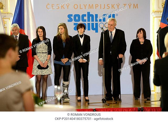 Members of the Olympic team of the Winter Games in Sochi are seen during a meeting with Czech president Milos Zeman (second fron right) and his wife Ivana...