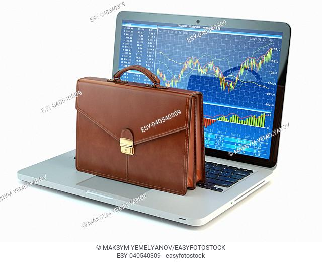 Stock market online business concept. Briefcase on laptop keyboard with stock market char on the screen. 3d illustration