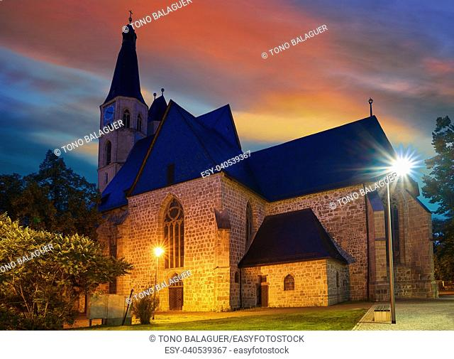 Nordhausen St Blasii church sunset in Thuringia Germany