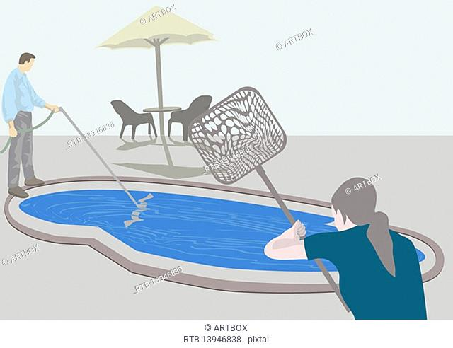 Man filling water with a woman holding a fishing net