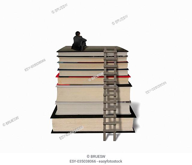 Businessman sitting on top of stack books with wooden ladder in white background