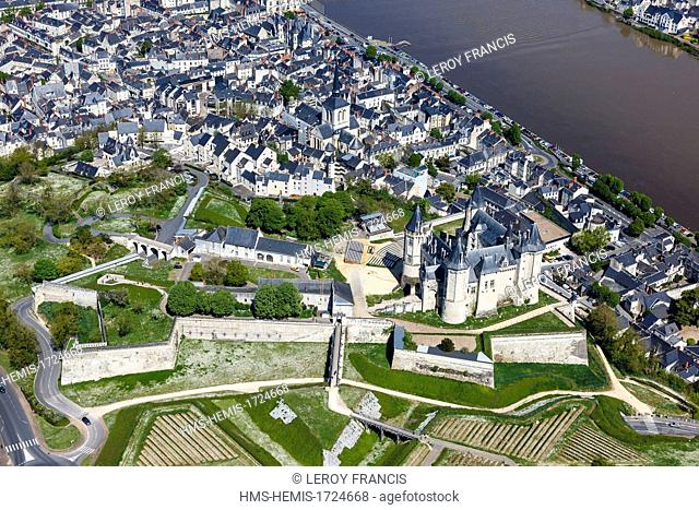 France, Maine et Loire, Saumur, listed as World Heritage by UNESCO (aerial view)
