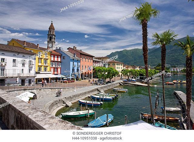 Switzerland, Europe, lake, summer, canton, TI, Ticino, Southern Switzerland, Lago Maggiore, Ascona, village