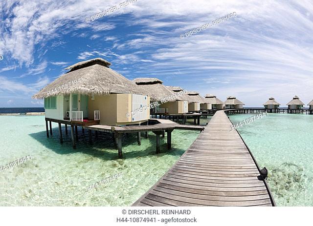 Wasserbungalow der Malediveninsel Ellaidhoo, Nord Ari Atoll, Malediven, Waterbungalow of Maldive Island Ellaidhoo, North Ari Atoll, Maldives